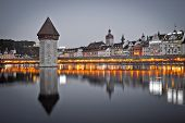 Kapelbrucke In Lucerne Famous Swiss Landmark Black And White With Color Elements View, Famous Landma poster