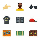 Street Rap Icon Set. Flat Set Of 9 Street Rap Vector Icons For Web Design poster