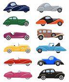 Art Deco Car Vector Retro Luxury Auto Transport And Art-deco Modern Automobile Illustration Set Of O poster