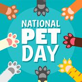 National Pet Day Paw Concept Background. Flat Illustration Of National Pet Day Paw Vector Concept Ba poster