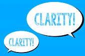 Word Writing Text Clarity. Business Concept For Quality Of Being Easy To See Or Hear Sharpness Of Im poster