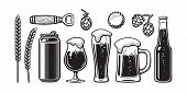 Vintage Beer Set. Barley, Wheat, Can, Glass, Mug, Bottle, Opener, Hop, Bottle Cap. Vector Illustrati poster