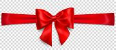 Beautiful Red Bow With Horizontal Ribbon With Shadow On Transparent Background poster