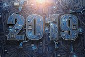 2019 on circuit board or motherboard with cpu. Computer technology and internet commucations digital poster