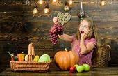 Kid Girl Fresh Vegetables Harvest Rustic Style. Child Presenting Harvest Vegetable Garden Wooden Bac poster