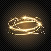 Light Swirl. Glow Shiny Spiral. Gold Circle Line. Glowing Magic Fire Ring. Sparkle Swirl Trail. Brig poster