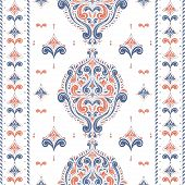 Beautiful Orange And Blue Floral Seamless Pattern. Vintage Vector, Paisley Elements. Traditional,tur poster