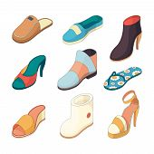 Shoes Man Woman. Casual Clothes Boots Model Slipper Shoe From Leather Vector Isometric Illustrations poster