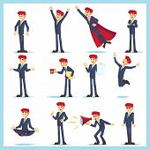 Office Worker Business Man Characters. Adult In Casual Clothes. Emotions And Expressions, Pose Set.  poster