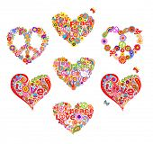 Heart shapes set for t shirt hippie design with abstract flowers, dove, mushrooms, hippie peace symb poster