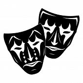 Original Vector Illustration Of Theatre Masks On A White Background. Comedy And Tragedy, In A Vintag poster