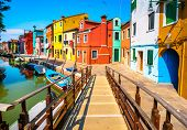 Venice Landmark, Burano Island Canal, Wooden Bridge, Colorful Houses And Boats, Italy, Europe. poster