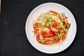 Thai Food som Tum Or Green Papaya Salad Mixed With Thai Traditional Ingredient And Sauce With Red  poster