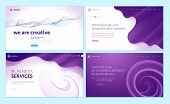 Set Of Web Page Design Templates With Abstract Background For Business Services, Creative Design Sol poster