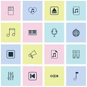Multimedia Icons Set With Audio File, Audio Buttons, Synthesizer And Other Piano Elements. Isolated  poster