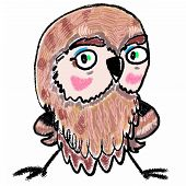 Owl Colorful Painting. Cute Cartoon Character For Design, Kids Prints, Posters, Interior, Surface. P poster