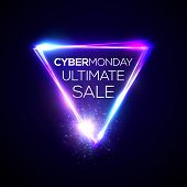 Cyber Monday Ultimate Sale Text In Neon Shining Triangle Sign On Dark Blue Backdrop. Glowing Electri poster