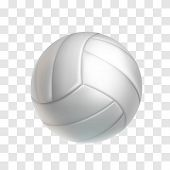 Realistic White Volleyball Ball Isolated On Transparent Background. Sports Equipment For Team Game V poster