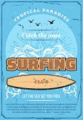 Surfing Sport Retro Poster, Summer Beach Surf Club. Tropical Ocean Waves With Surfboard, Sunset And  poster