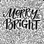 Christmas Greeting Card With Merry And Bright Text And Hand Drawn Doodle Elements, Vector Illustrati poster