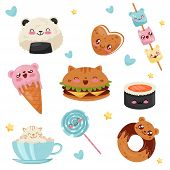 Cute Kawaii Food Cartoon Characters Set, Desserts, Sweets, Fast Food Vector Illustration On A White  poster