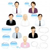 picture of retort  - 8 Vector Business People Icons With Dialog Bubbles - JPG