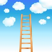 Ladder In Blue Sky, Vector Illustration