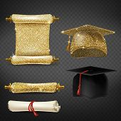 Vector Set With Black And Golden Graduation Caps, Glittering Diplomas Isolated On Background. Square poster