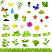 Eco Set With Nature Icons, Isolated On Black Background, Vector Illustration