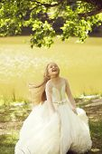 Small Girl Kid With Long Blonde Hair And Pretty Smiling Happy Face In Prom Princess White Dress Stan poster