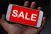 Black Friday And Sale Inscription On Smartphone Screen. Inscription Sales On The Screen Of A Mobile  poster