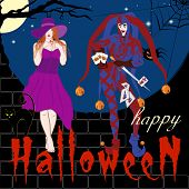 Vector Image Of The Joker, Beautiful Witch And Laughing Pumpkin In A Hat. Symbols Halloween - Cat, B poster