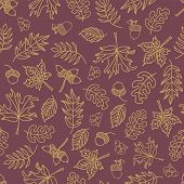Fall Leaves Seamless Vector Background. Beige Green Leaves On Purple Background. Acorn, Oak Tree, Ma poster