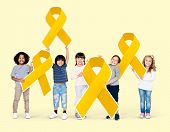 Kids holding gold ribbons supporting childhood cancer awareness poster