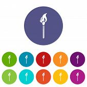 Burning Match Icon. Simple Illustration Of Burning Match Vector Icon For Web poster