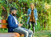 Couple In Love Romantic Date Walk Nature Park Background. Man Bearded Hipster Wait Girlfriend. Park  poster