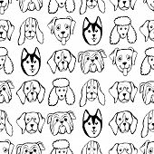 Seamless Pattern With Dog Breeds. Bulldog, Husky, Alaskan Malamute, Retriever, Doberman, Poodle, Pug poster