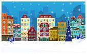 Winter Night Townscape With Buildings And Decorated Fir-tree. Night Town Scene Vector Illustration.  poster