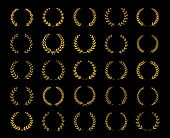 Collection Of Twenty Five Gold Circular Laurel, Olive And Oak Wreaths For Use As Design Elements In  poster