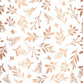 Copper Foil Florals Seamless Vector Background. Rose Gold Abstract Wildflower Grass Shapes On White  poster