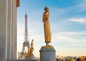 Famous Eiffel Tower From The Gardens Of The Trocadero Square, Paris France poster