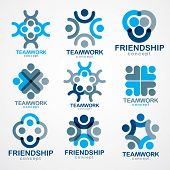 Teamwork Businessman Unity And Cooperation Concepts Created With Simple Geometric Elements As A Peop poster