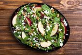 Autumn Spinach Salad With Apple , Cheese , Walnut And Dried Cranberry poster