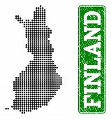Dotted Map Of Finland And Rubber Caption. Vector Green Title Inside Rounded Rectangle And Distress R poster
