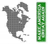 Dotted Map Of North America And Rubber Caption. Vector Green Title Inside Rounded Rectangle And Retr poster