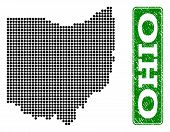 Dotted Map Of Ohio State And Rubber Caption. Vector Green Title Inside Rounded Rectangle And Retro R poster
