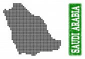 Dotted Map Of Saudi Arabia And Corroded Caption. Vector Green Title Inside Rounded Rectangle And Cor poster