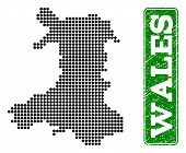 Dotted Map Of Wales And Grunge Caption. Vector Green Title Inside Rounded Rectangle And Grunge Rubbe poster