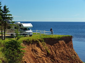 image of recreational vehicle  - RV vehicle and Traveller on Prince Edward Island Canada - JPG