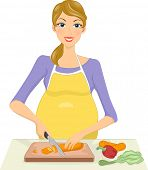 Illustration of a Pregnant Woman Slicing Vegetables Before Cooking